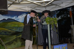 Tim Maher, Castleiney, and Adrian Hewson, reenacting the story of Taigh Maher, the son of the Last Chieftain from Clonakenny
