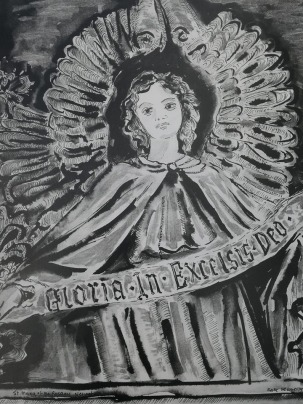 Drawing of an Angel in St Mary's of The Rosary Nenagh
